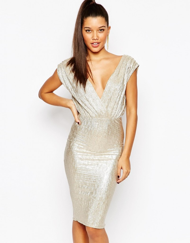 rare london textured plunge midi dress