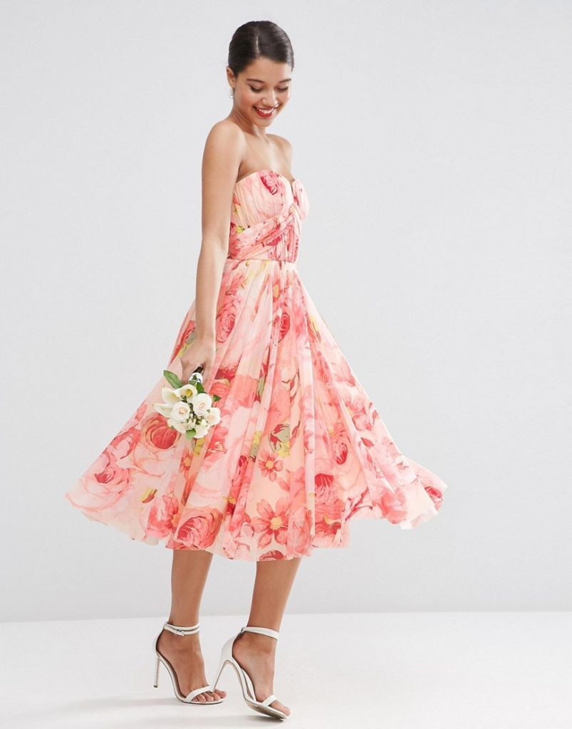 asos wedding floral printed rouched bandeau dress