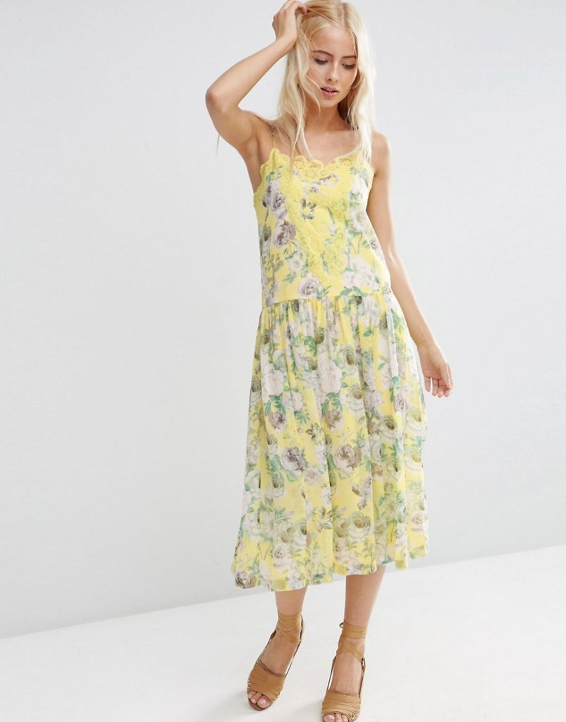 asos yellow floral dress